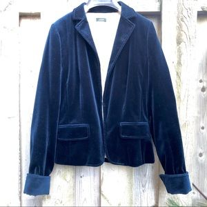 J Crew Fitted Blue Velvet Blazer/Waist Jacket TALL